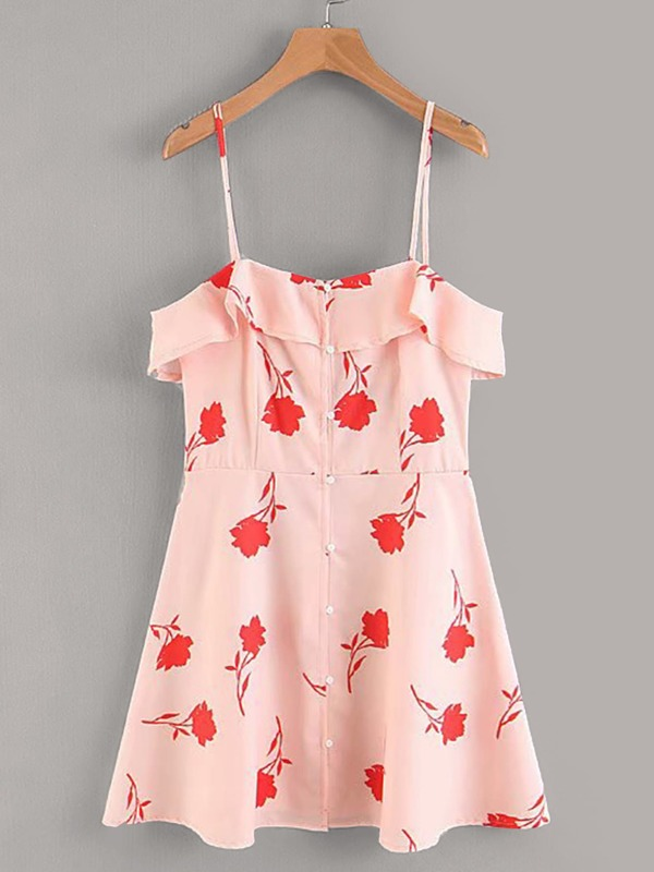 Button Front Floral Print Cami Dress