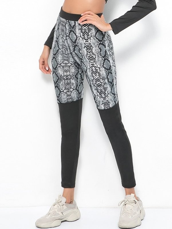 Contrast Panel Snake Print Leggings