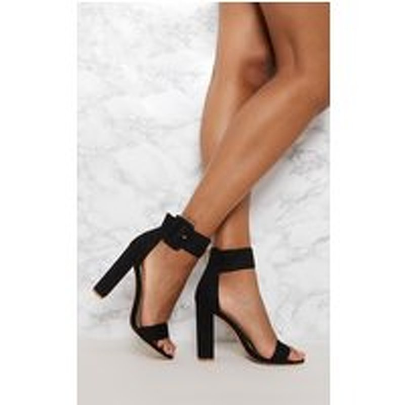 Black Ankle Buckle Block Heel