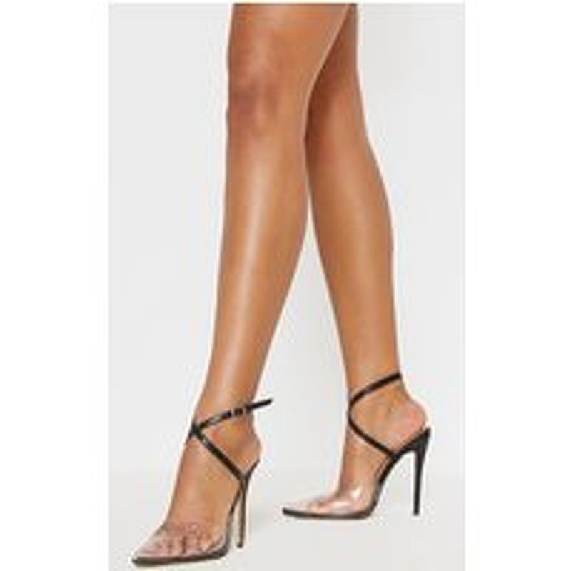 Black Buckle Ankle Wrap Clear Court