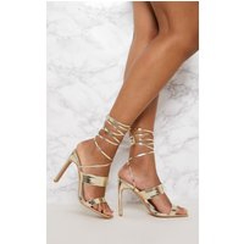 Gold Patent Ankle Lace Up Mule Heel