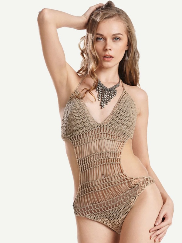 Hollow Out Crochet Backless Bodysuit