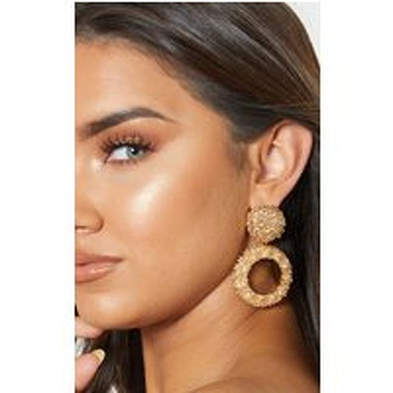 Gold Textured Circle Drop Statement Earrings