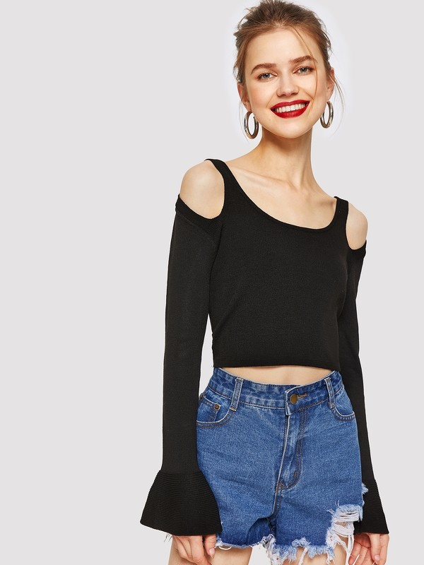Cold Shoulder Flounce Sleeve Crop Sweater