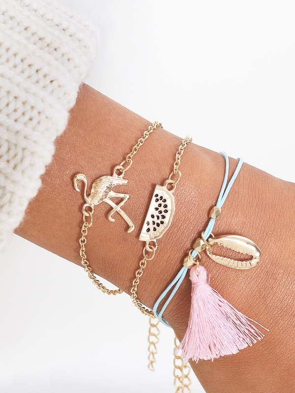 Flamingo & Seashell Bracelet 3pcs