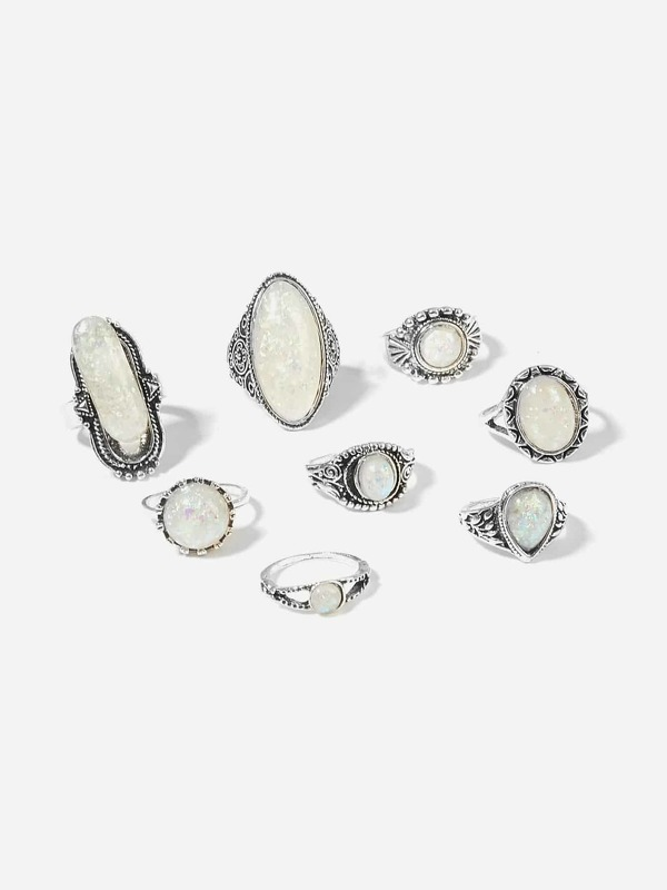 Gemstone Ring Set 8pcs