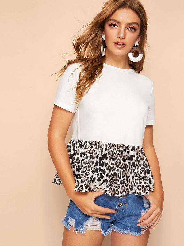 Cut-and-sew Leopard Peplum Top