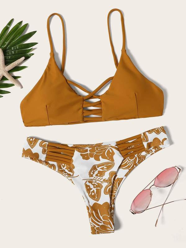 Ladder Cutout Top With Floral Pattern Bikini Set