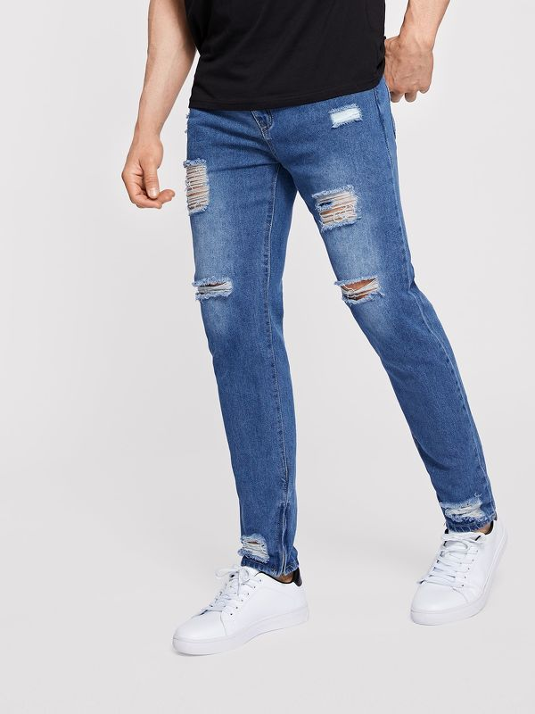 Men Zip Hem Ripped Wash Jeans