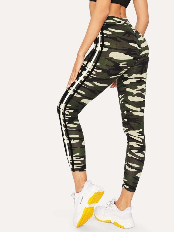 Striped Side Seam Camo Crop Leggings