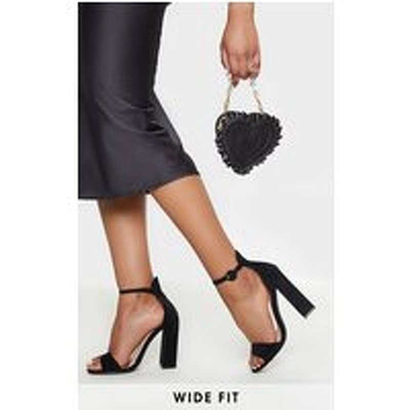 Black Wide Fit High Block Heel Sandal