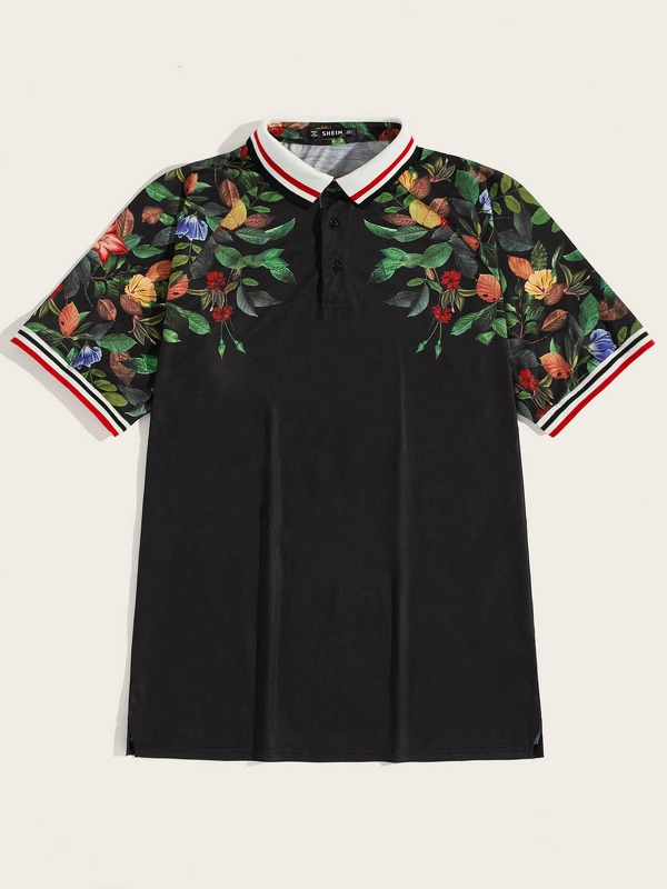 Men Botanical and Striped Polo Shirt