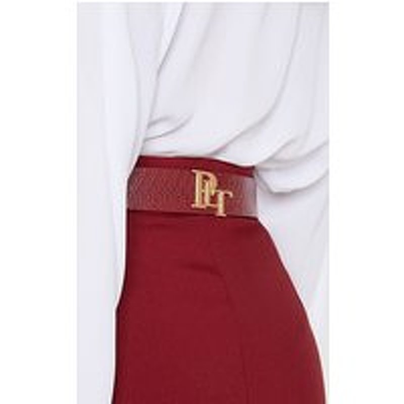 PrettyLittleThingLogo Buckle Burgundy Croc Belt