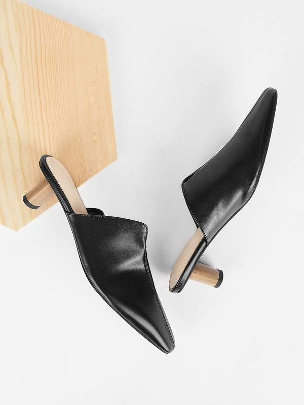 Plain PU Kitten Heeled Mules