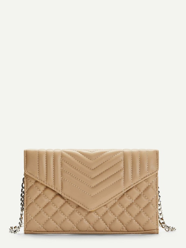 Quilted Detail Clutch With Chain