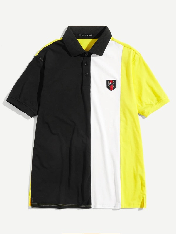 Men Patched Detail Cut and Sew Polo Shirt