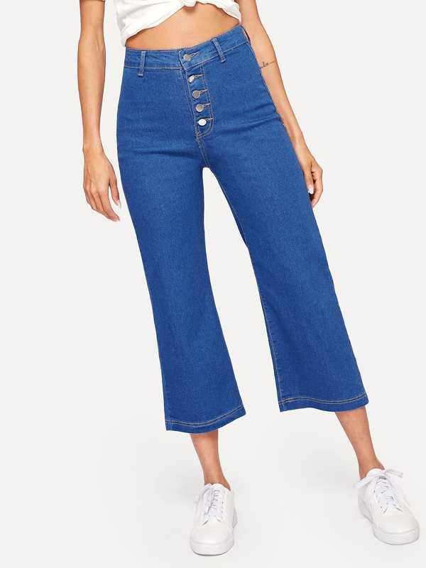 Button Front Solid Jeans