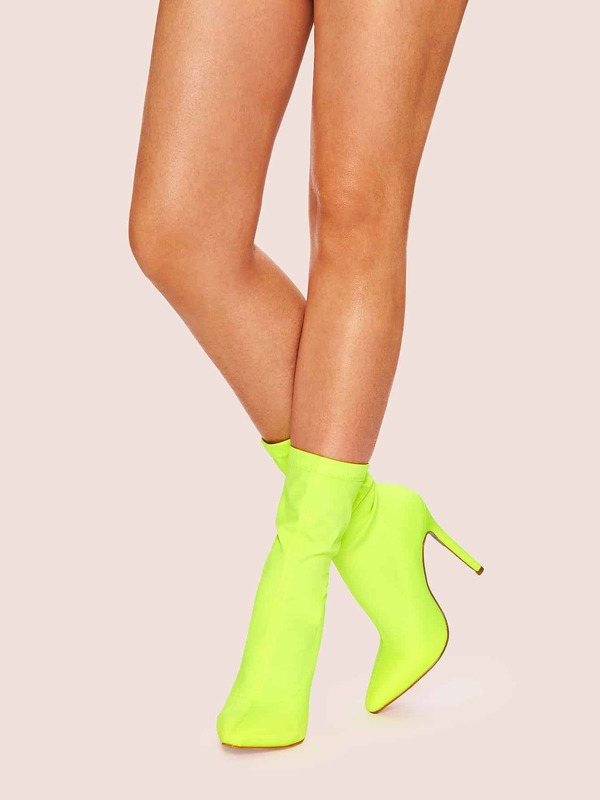 Plain Point Toe Neon Boots