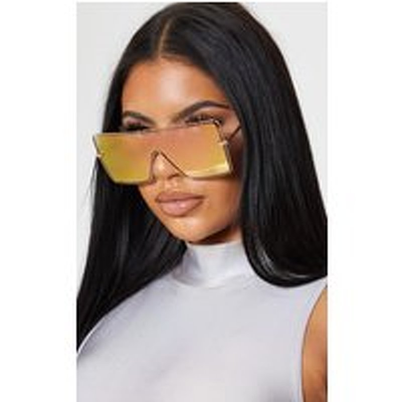 Gold Pink Tinted Mirrored Lens Square Oversized Sunglasses