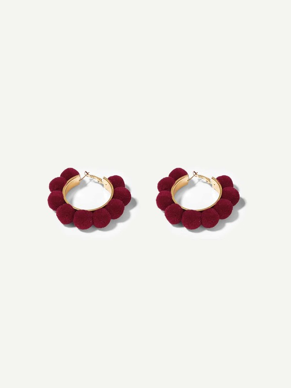 Ball Decorated Hoop Earrings 1pair