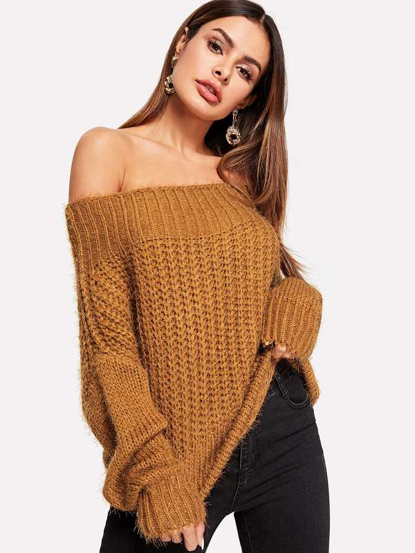 Off-shoulder Knit Solid Jumper