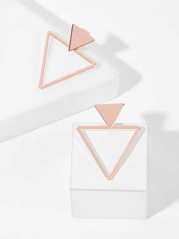 Double Triangle Stud Earrings 1pair