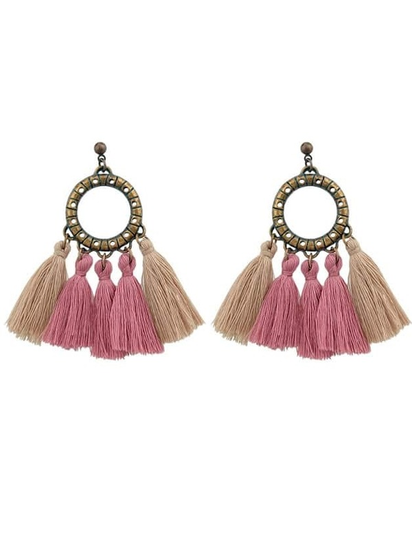 Pink Boho Circle With Tassel Big Statement Earrings