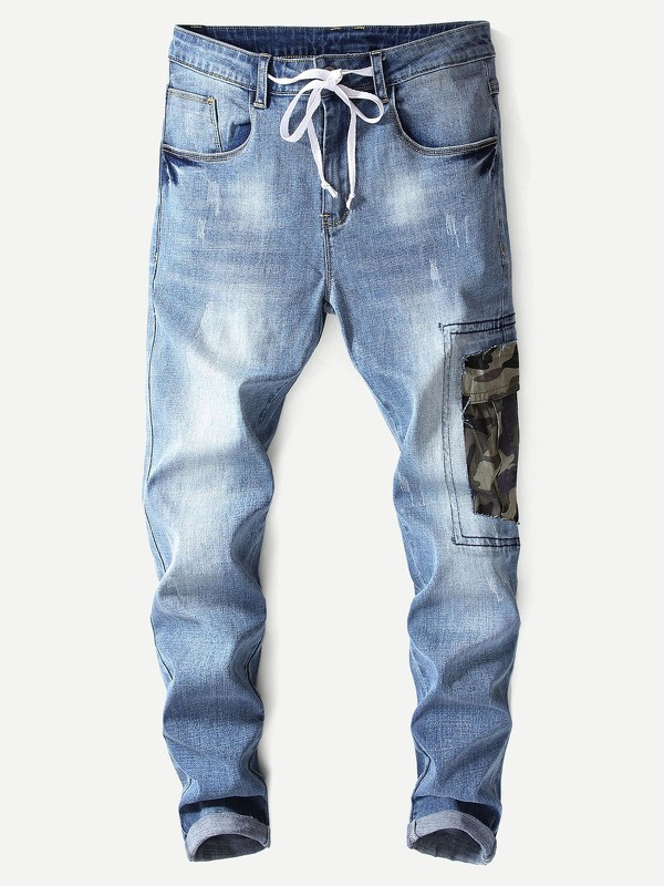 Men Camo Print Washed Jeans