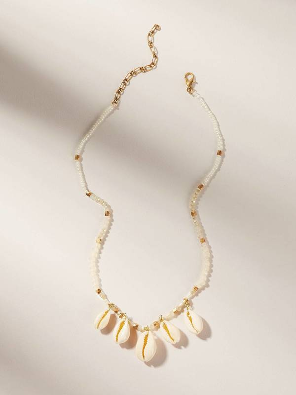 Puka Shell Charm Beaded Necklace