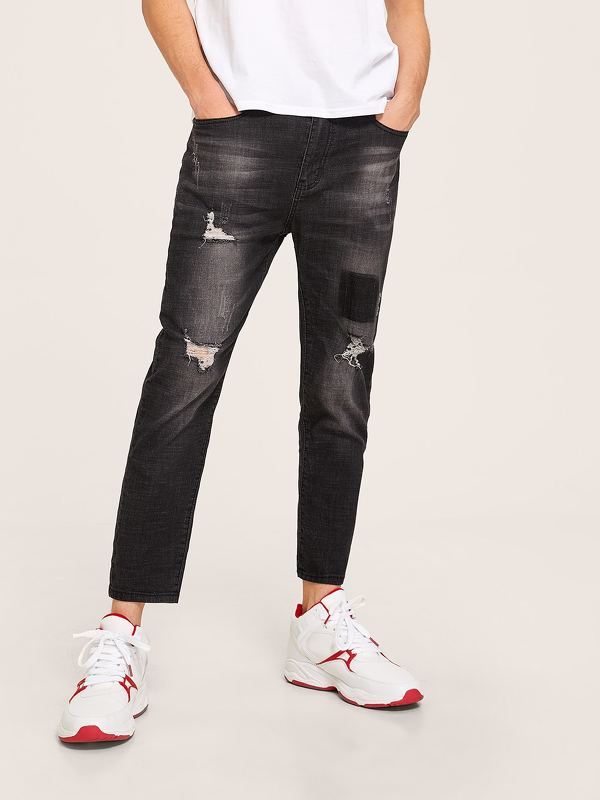 Men Ripped Wash Ankle Jeans