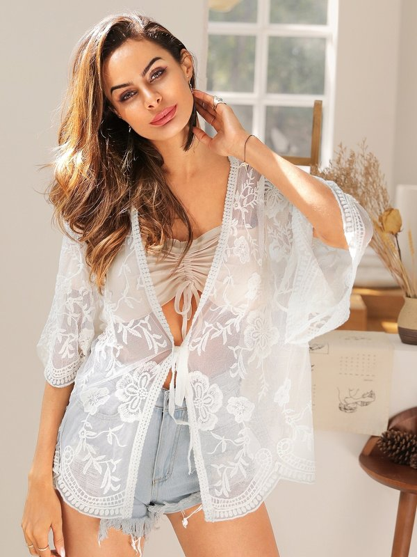 Embroidery Mesh Knot Front Cover Up