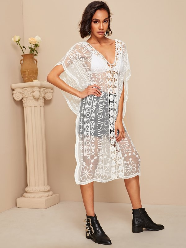Geo Insert Embroidery Mesh Cover Up Top