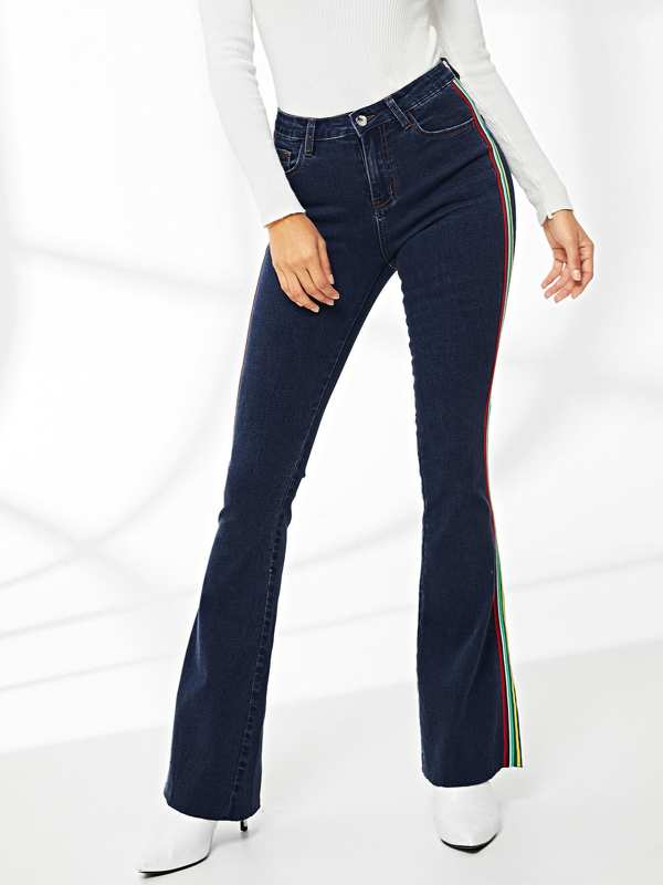 Stripe Side Flare Hem Jeans