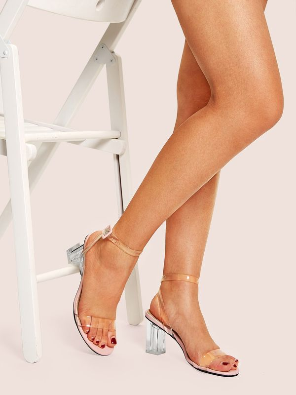 Transparent Strappy Chunky Heeled Sandals