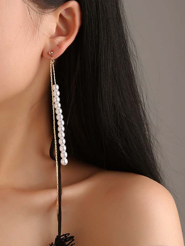 Faux Pearl Bar Chain Drop Earrings 1pair