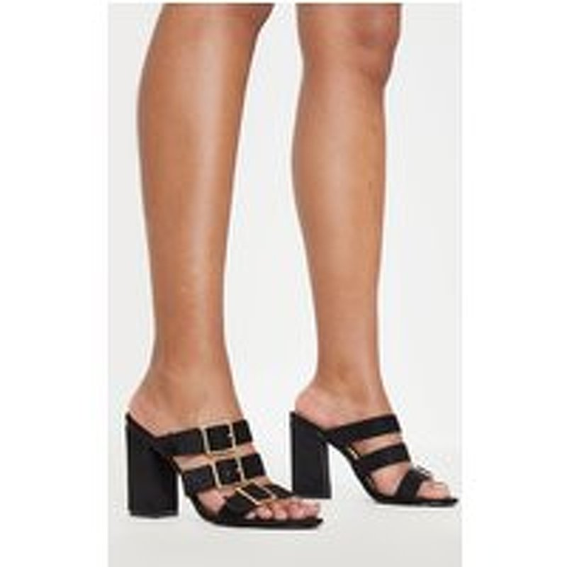 Black Triple Strap Buckle Mule Sandal