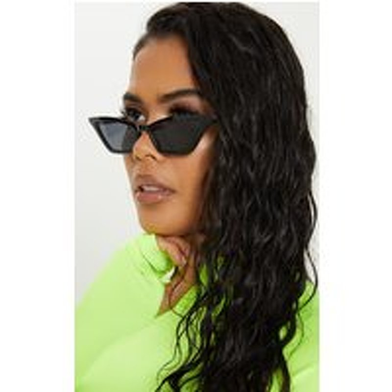 Black Narrow Slim Angular Cat Eye  Sunglasses