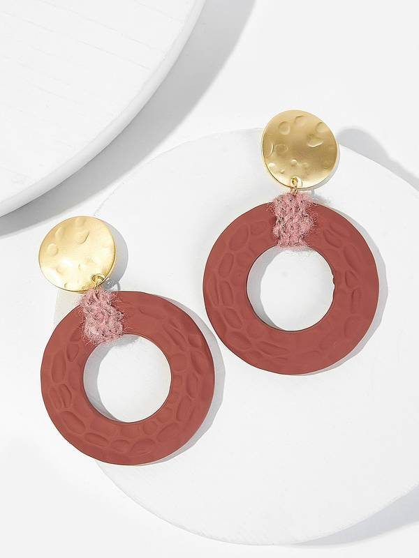 Textured Disc Hoop Drop Earrings 1pair