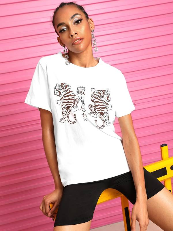 Letter And Tiger Print Tee