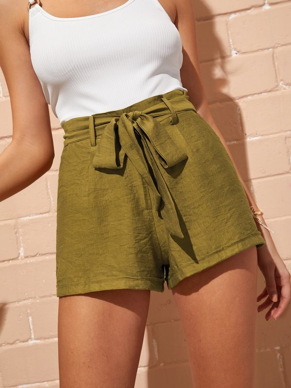 Solid Self Tie Shorts