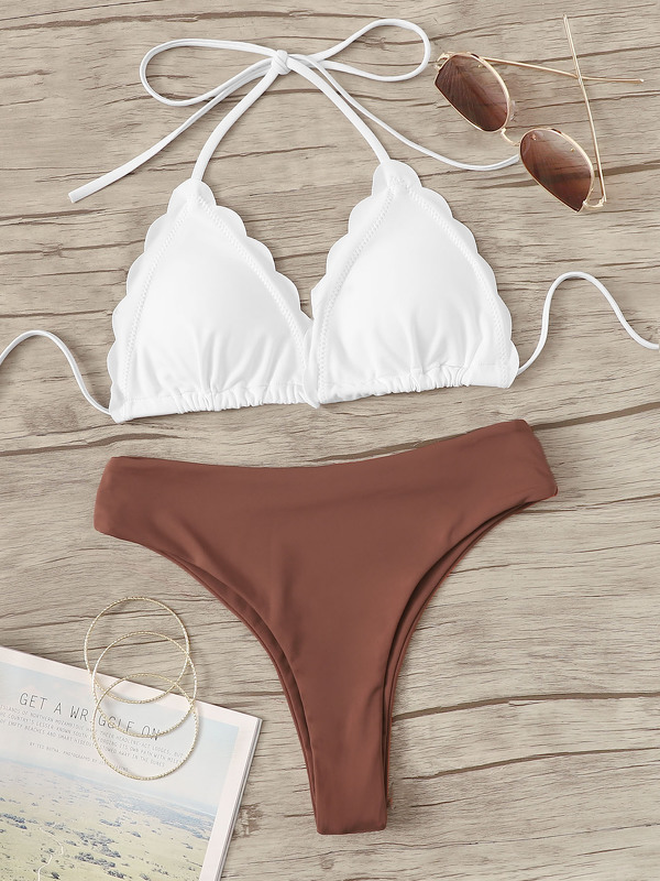 Scalloped Halter Top With High Cut Bikini Set