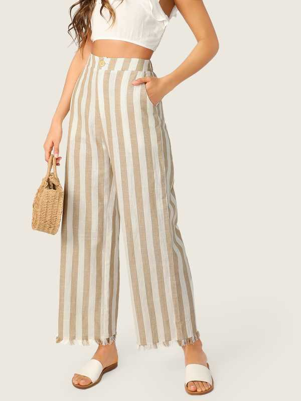 Buttoned Front Raw Hem Wide Leg Striped Pants