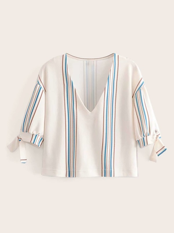 Knotted Cuff Stripe Blouse