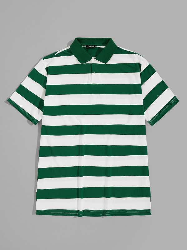 Men Two Tone Striped Polo Shirt