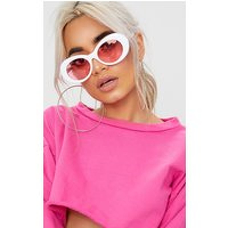 White Pink Tinted Lens Retro Sunglasses
