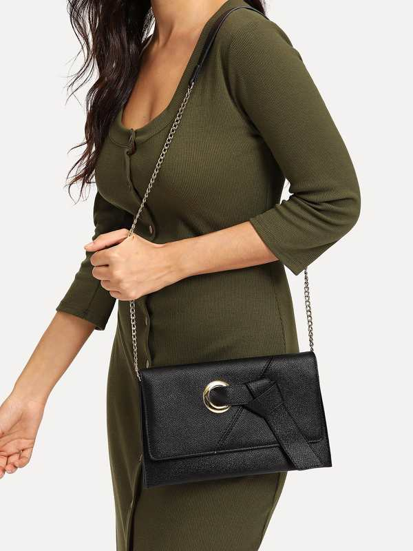 O-Ring Detail Knot Flap Clutch Bag