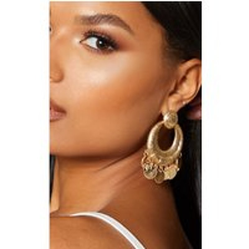 Gold Textured Bamboo Coin Drop Earrings