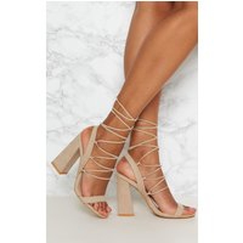 Nude Ghillie Lace Up Block Heel