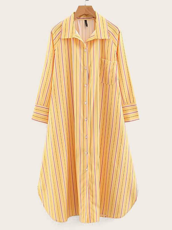 Curved Hem Striped Shirt Dress