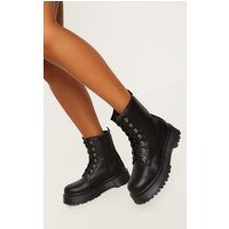 Black Chunky Sole Lace Up Ankle Boot
